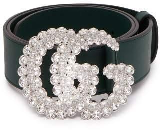 Gucci Gg Crystal Embellished Leather Belt - Womens - Dark Green