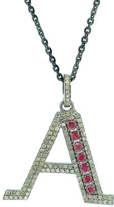 Arthur Marder Fine Jewelry Silver 1.10 Ct. Tw. Diamond & Ruby Initial Necklace