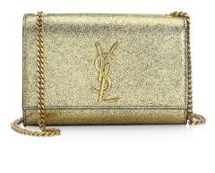 Saint Laurent Small Kate Metallic Leather Clutch