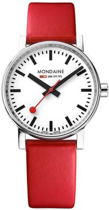 Mondaine Evo2 35mm Stainless Steel Case White Dial Red Leather Strap Ladies Watch