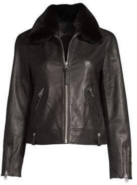 Mackage Women's Maryse Fur Collar Leather Jacket - Black - Size Medium