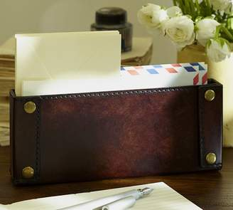 Pottery Barn Saddle Chocolate Leather Desk Accessories Collection