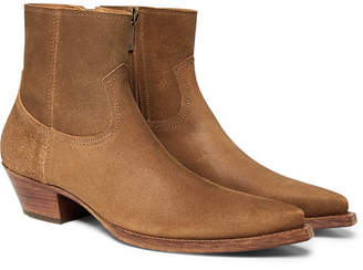 Saint Laurent Lucas Brushed-Suede Boots - Men - Tan