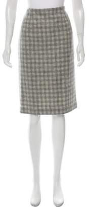 Black Fleece Wool Gingham Pencil Skirt