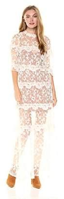 For Love & Lemons Women's Rosebud Embroidery Maxi Dress