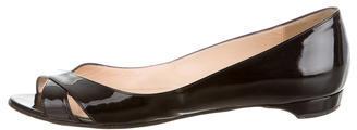 Christian Louboutin Christian Louboutin Patent Leather Peep-Toe Flats