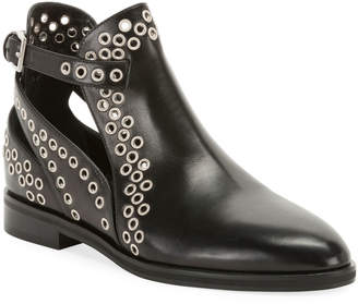 Alaia Leather Booties with Grommets