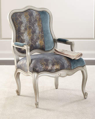 Massoud Lily Leather & Velvet Bergere Chair