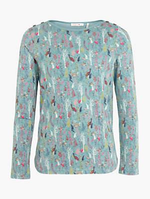 Fat Face Girls' Forest Print Long Sleeve T-Shirt, Aqua