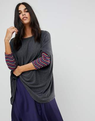 Traffic People Slouchy Sweater With Embroidered Detail