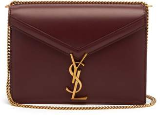 Saint Laurent Cassandre Leather Shoulder Bag - Womens - Burgundy