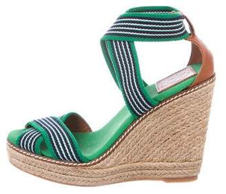 Tory Burch Canvas Round-Toe Wedges