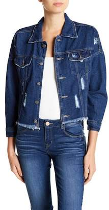 UNIONBAY Kaplan Distressed & Frayed Denim Jacket