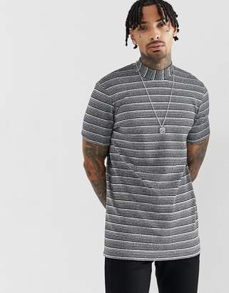 Asos DESIGN longline t-shirt with turtleneck in silver metallic