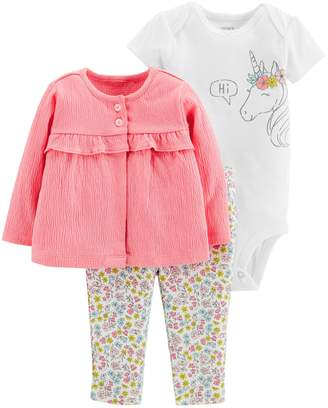 Carter's Baby Girl Unicorn Bodysuit, Ruffled Cardigan & Floral Leggings Set