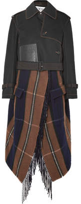 Loewe Cropped Asymmetric Cotton And Checked Wool-blend Trench Coat - Black