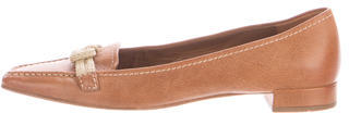 pradaPrada Leather Pointed-Toe Loafers