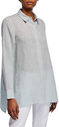 Lafayette 148 New York Plus Size Porto Illustrious Linen Blouse