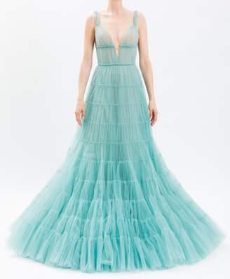 J. Mendel Jade Sleeveless Tiered Tulle Gown