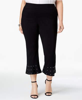 INC International Concepts I.n.c. Plus Size Embellished-Hem Capri Pants