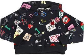 Dolce & Gabbana Doodles Zip-Up Cotton Sweatshirt Hoodie