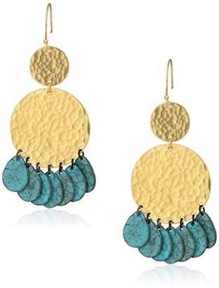 Panacea Hammered Gold Circle Patina Drop Earrings