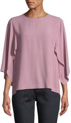Eileen Fisher Cape-Sleeve Silk Top, Plus Size