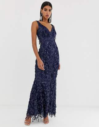 Goddiva plunge maxi dress with fringed sequin in navy
