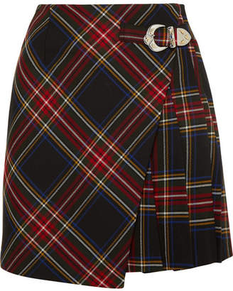 Maje Wrap-effect Tartan Twill Mini Skirt - Navy