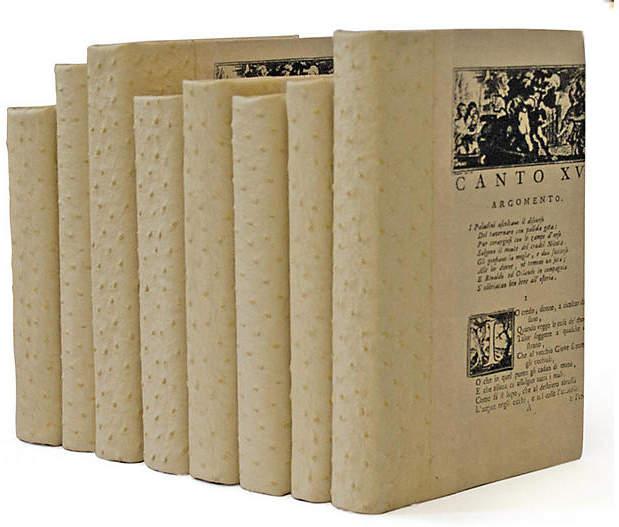 Linear Foot of Faux-Ostrich Books - Beige