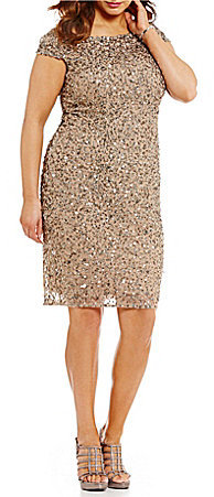 Adrianna Papell Adrianna Papell Plus Off-the-Shoulder Beaded Sheath Dress