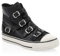Ash Virgin Leather Buckle High-Top Sneakers