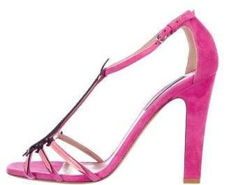 Valentino Suede Peep-Toe Sandals