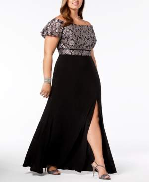 Night Way Nightway Plus Size Off-The-Shoulder Gown