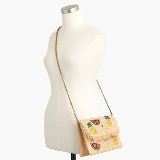 J.Crew Convertible raffia clutch in fruit salad