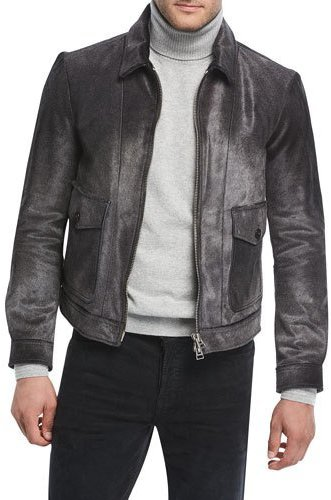 TOM FORD Calf Hair Zip-Front Jacket