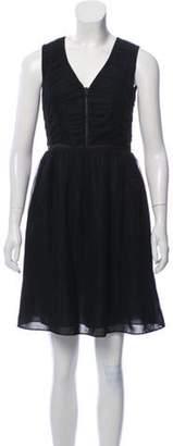 Burberry Mesh-Trimmed Mini Dress Black Mesh-Trimmed Mini Dress