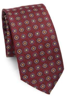 Saks Fifth Avenue COLLECTION Floral Check Silk Tie