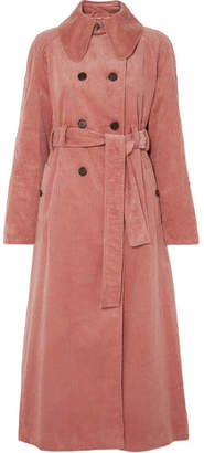 ALEXACHUNG Cotton-blend Corduroy Trench Coat - Pink