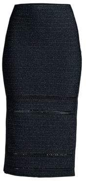 Herve Leger Side Slit Lurex& Knit Pencil Skirt