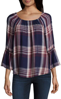 BY AND BY by&by 3/4 Sleeve Scoop Neck Woven Blouse-Juniors