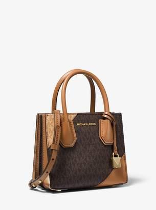 MICHAEL Michael Kors Mercer Two-Tone Logo and Leather Accordion Crossbody Bag