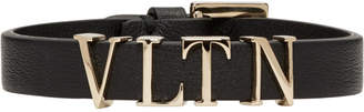 Valentino Black and Gold Garavani VLTN Bracelet