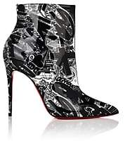 Christian Louboutin Women's So Kate Patent Leather Ankle Boots - Black-White