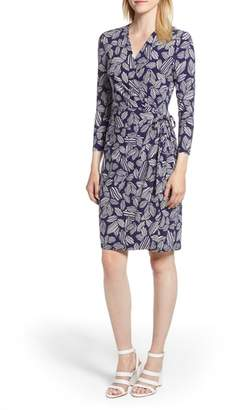 Anne Klein Leaf Print Faux Wrap Dress