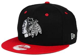 New Era Chicago Blackhawks Black White Team Color 9FIFTY Snapback Cap