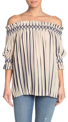 Moon River Pleated Stripe Off-the-Shoulder Tunic