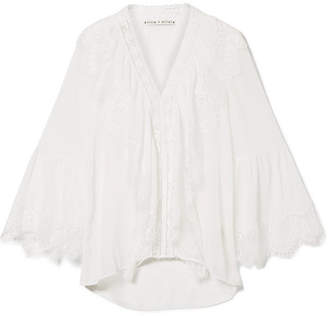 Alice + Olivia Alice Olivia - Jaden Lace-paneled Gauze Blouse - Off-white