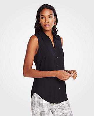 3711084b Ann Taylor Petite Essential Sleeveless Shirt