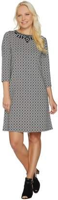 C. Wonder Jacquard Knit 3/4 Sleeve Dress with Beading